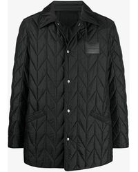 Ferragamo Padded Quilted Logo Patch Jacket - Black