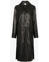 Nanushka - Gus Single Breasted Faux Crocodile Skin Coat - Lyst