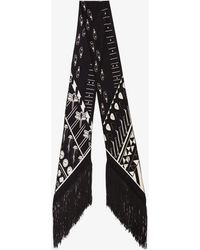 Rockins Black Printed Fringe Skinny Silk Scarf