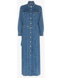 3x1 Tessa Belted Denim Maxi Dress - Blue