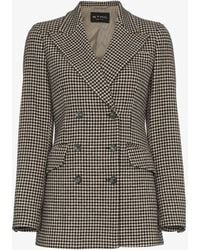 Etro - Double Breasted Houndstooth Wool Blazer - Lyst