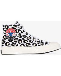 Converse Multicoloured Chuck 70 Leopard Print High Top Trainers - White