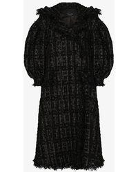 Simone Rocha Beaded Tweed Coat - Black