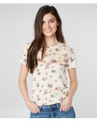 Lucky Brand Floral Embroidered T-shirt - Natural
