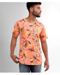 Rustic Dime Tropical Floral T-shirt - Orange