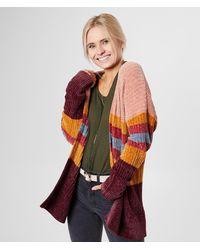 BKE Striped Chenille Cardigan Sweater - Orange