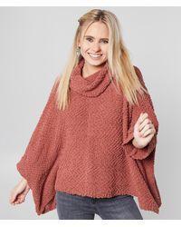 BKE Oversized Popcorn Pullover Sweater - Pink