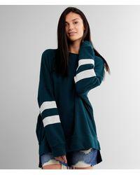 BKE Varsity Striped Drop Shoulder Pullover - Blue