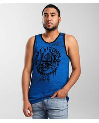 Affliction American Customs Iron Grease Tank Top - Blue