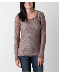 BKE Lace Top - Brown