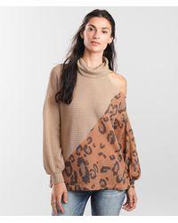 BKE Cold Shoulder Leopard Print Pullover - Brown