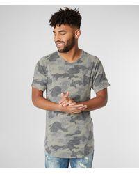 Rustic Dime Camo Fleece Long Body T-shirt - Green