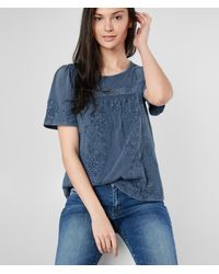 Lucky Brand Floral Embroidered Peasant Top - Blue
