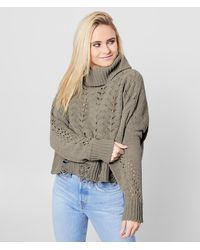 BKE Pointelle Cropped Pullover Sweater - Green
