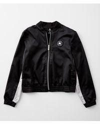 Converse Girls - Satin Color Block Bomber Jacket - Black