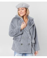 Free People Solid Kate Faux Fur Coat - Gray
