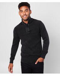 BKE Mountain Stonewashed Henley Sweater - Black