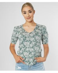 Lucky Brand Floral Print Top - Green