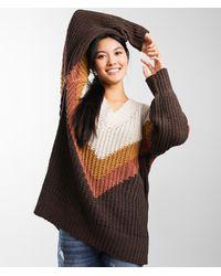 BKE Oversized Matte Chenille Sweater - Brown