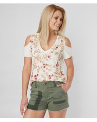 Lucky Brand Floral Embroidered Top - Natural