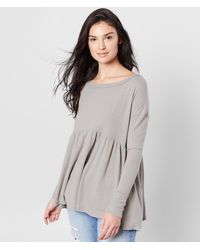 Free People Forever Your Girl Babydoll Top - Gray