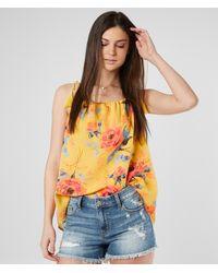Miss Me Floral Chiffon Tank Top - Yellow