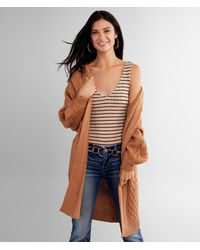 BKE Cable Stitch Cardigan Sweater - Brown