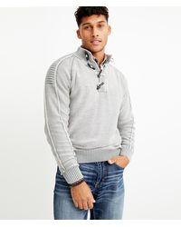 BKE Phillips Toggle Mock Neck Sweater - Gray