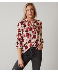 Lucky Brand Floral Henley Top - Red