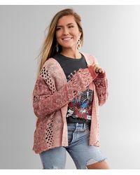 BKE Marled Two Tone Cardigan Sweater - Pink