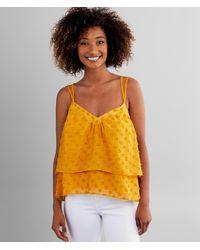 Miss Me Swiss Dot Chiffon Tank Top - Yellow