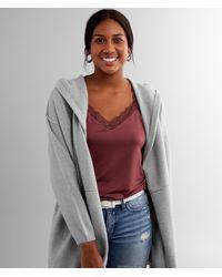 BKE Hooded Cardigan Sweater - Gray