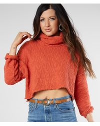 Free People Big Easy Cropped Pullover Sweater - Orange