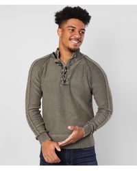 BKE Phillips Toggle Mock Neck Sweater - Brown