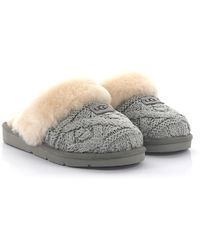 UGG - House Slippers Cosy Cable Knitted Grey Lamb Fur - Lyst 8cd4f3449