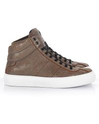 Jimmy Choo High-top Sneakers Belgravi Calfskin Smooth Leather Finished Logo Bronze - Gray
