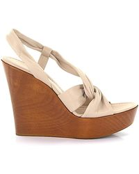 Gianvito Rossi Sandals Calfskin Smooth Leather Wood Beige-combo Brown - Natural