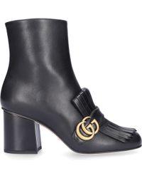 Gucci Ankle Boots C9d00 Calfskin Logo Metallic Black