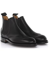 Crockett and Jones - Chelsea Boots Newbury Brogue Leather Black Scotch Grain Goodyear Welted - Lyst
