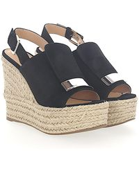 Sergio Rossi - Wedge Sandals A80200 Suede Black Gold Plated - Lyst