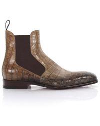 Santoni - Chelsea Boots Krokodilleder beige-kombi - Lyst