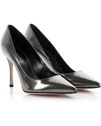 Sergio Rossi - Court Shoes Godiva Leather Grey Metallic - Lyst