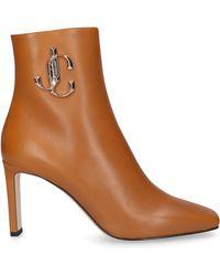 Jimmy Choo Classic Ankle Boots Minori 85 Calfskin Logo Metallic Camel - Natural