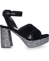 Miu Miu Platform Sandals Velvet - Black