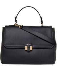 Maison Héroïne Women Handbag Audrey Calfskin Suede Logo Black Gold