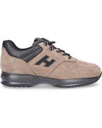 Hogan Schuhe Sneaker Glattleder Nubukleder Logo Metallisch beige - Braun
