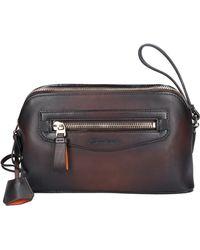 Santoni Taschen Kulturtasche A2009 Kalbsleder - Braun