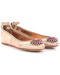 Jimmy Choo - Ballerinas Grace Flat Nappa Leather Metallic Rose - Lyst