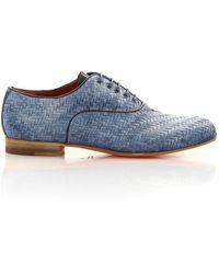 Santoni Lace Up Shoes M25 Calfskin - Blue
