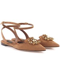Dolce & Gabbana Loafer Mules BELLUCCI Ankle Strap suede jewellery ornament FxbdZIW3O